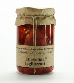 Geschnittene Diavolini-Chilis in Olivenöl
