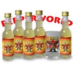 ZEKILLA Chilli Cinnamon Liqueur 5x plus shot glass