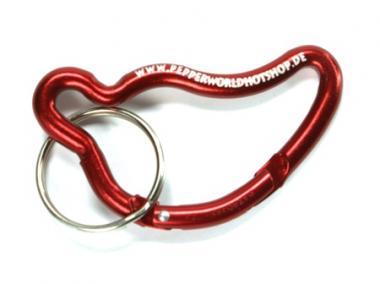 Karabiner und Schlüsselanhänger in Chiliform, rot