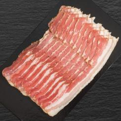 Kalieber Bacon from active stall pigs that is smoked with cherry wood, cut